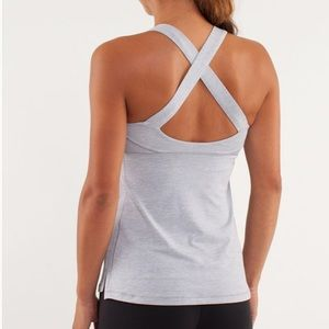 Lululemon Top Speed Heathered Silver Slate Tank